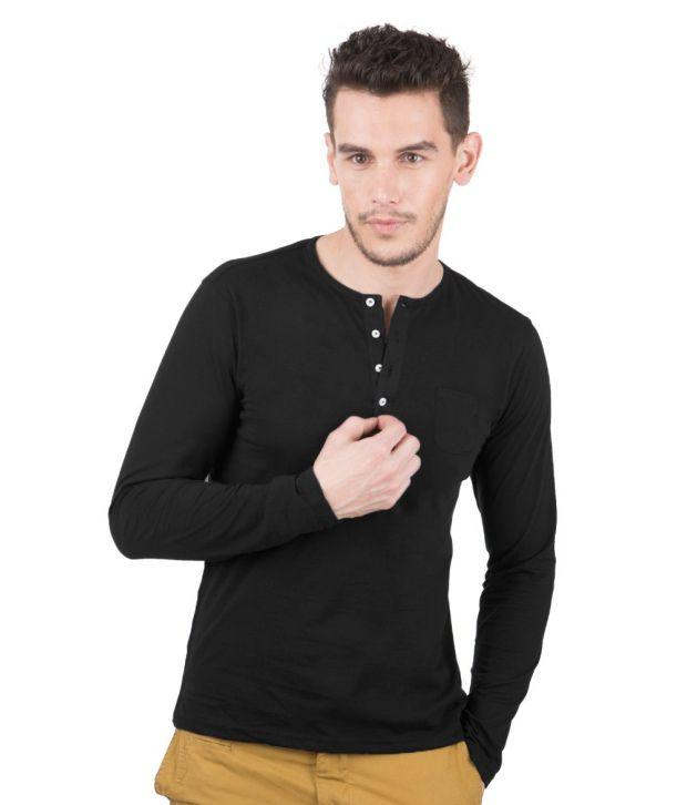 Freecultr Smart Black Henley Basics T Shirt