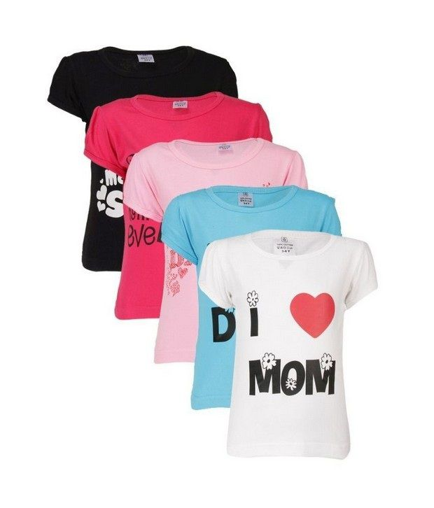 0c879fd61bf Goodway Mom   Dad Themed Pack of 5 T-Shirts For Girls - Buy Goodway Mom    Dad Themed Pack of 5 T-Shirts For Girls Online at Low Price - Snapdeal