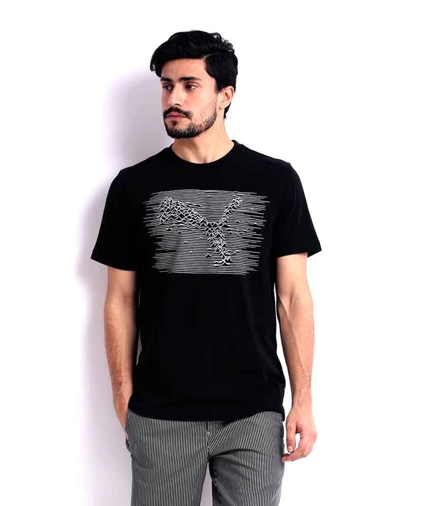 Puma Black Printed Melange T Shirt