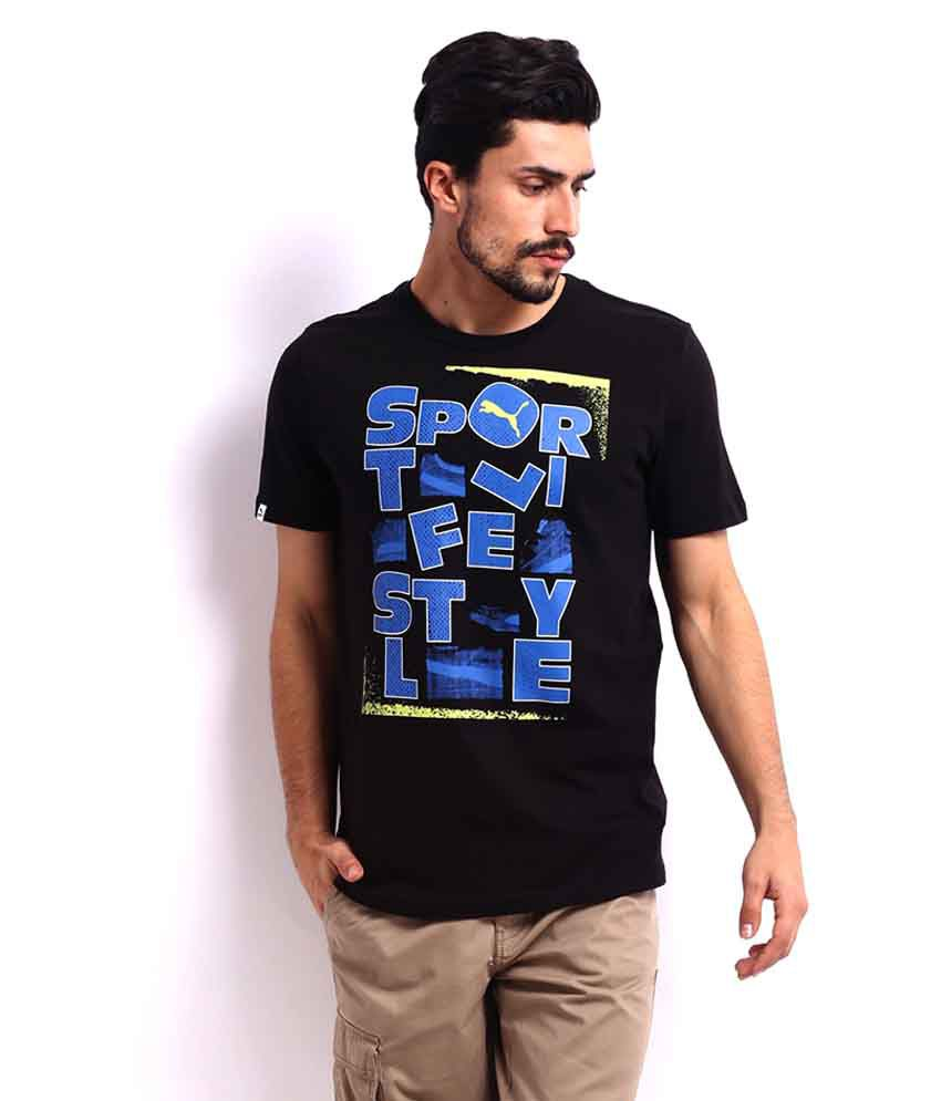 Puma Black T Shirt With Blue Print