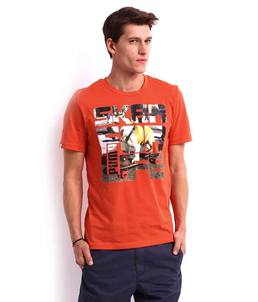 Puma Orange Printed T Shirt - Buy Puma Orange Printed T Shirt ...