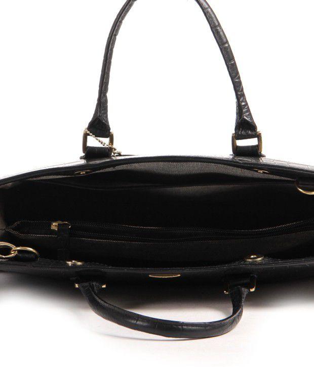 Hidesign Kester-Croco Black Satchel Bag - Buy Hidesign Kester ... 70b55ff5b1