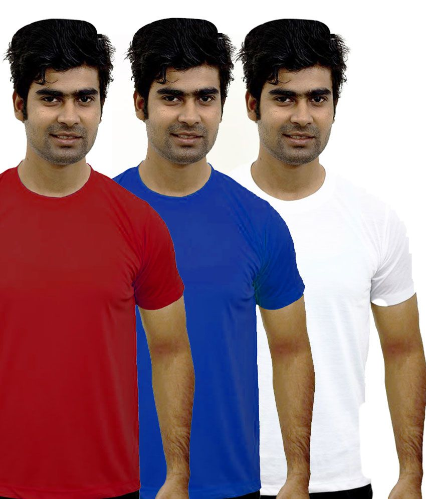 Shopping Monster Combo of 3 Round Neck T-shirts - Royal Blue, Red & White