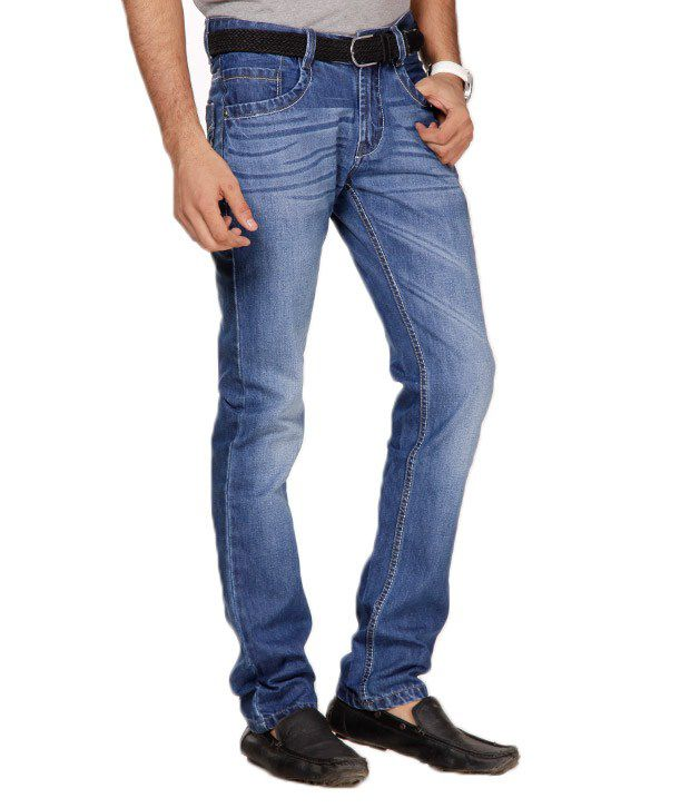 Uomos Cool Indigo  Faded Slim Fit Stretchable Jeans