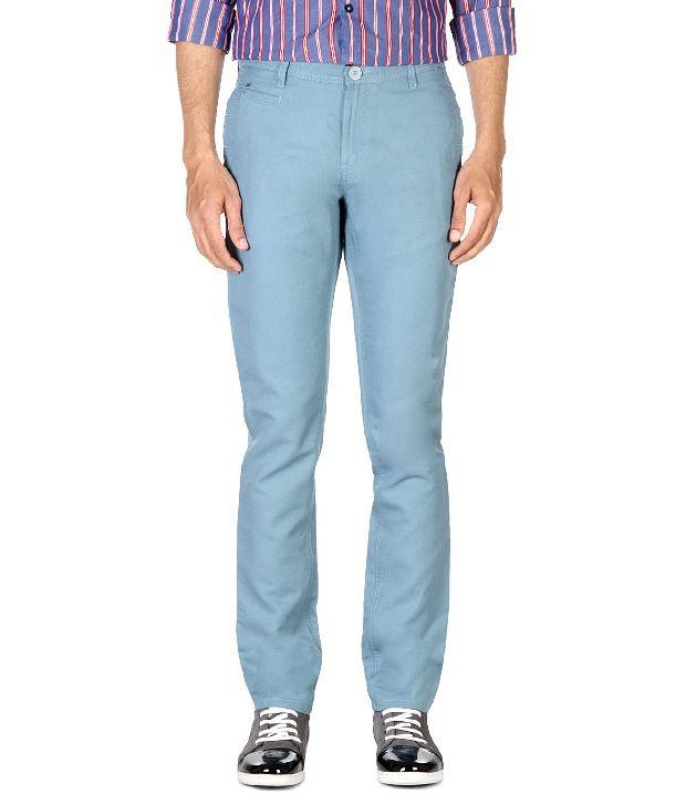 Van Heusen Blue Slim Fit Textured Trousers