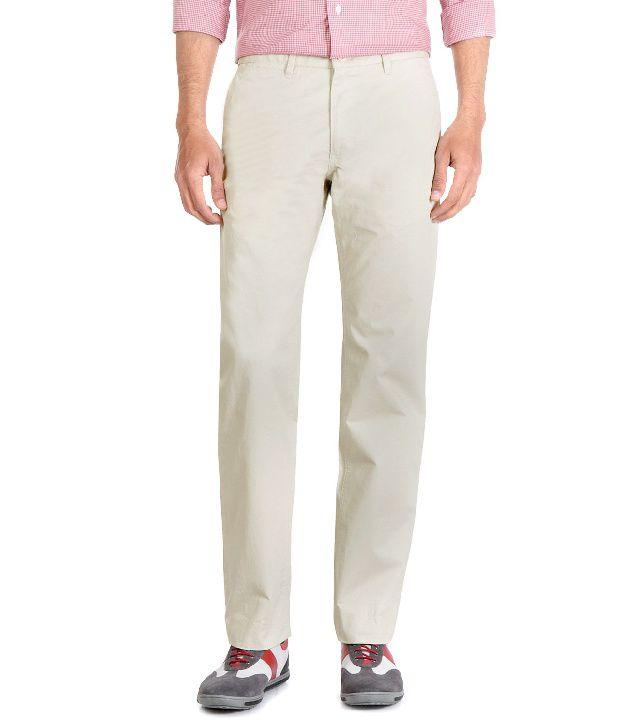 Van Heusen Cream Regular Fit Cotton Trousers