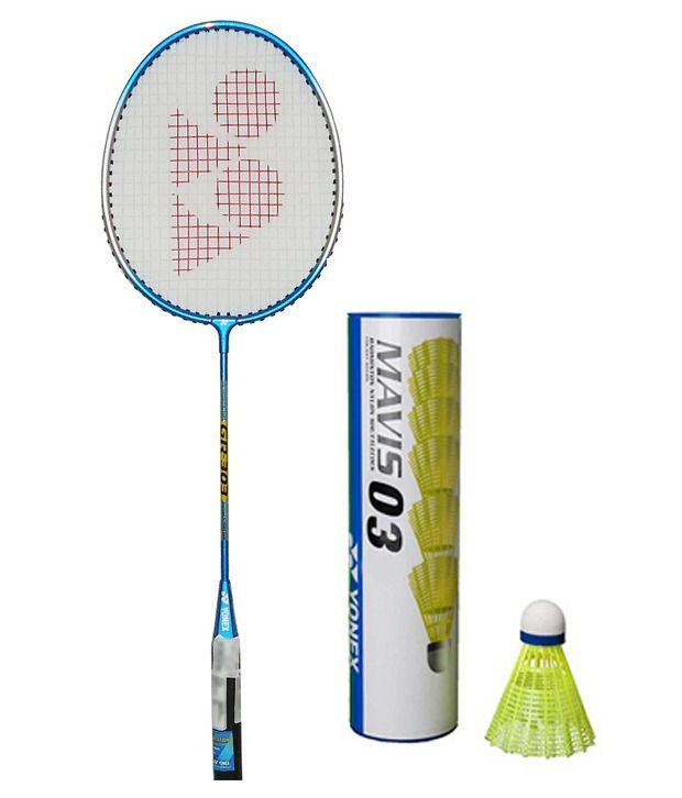 Yonex Gr 303 Badminton Racket+Yonex Mavis 03 Nylon Shuttle Cock  Pack Of 6