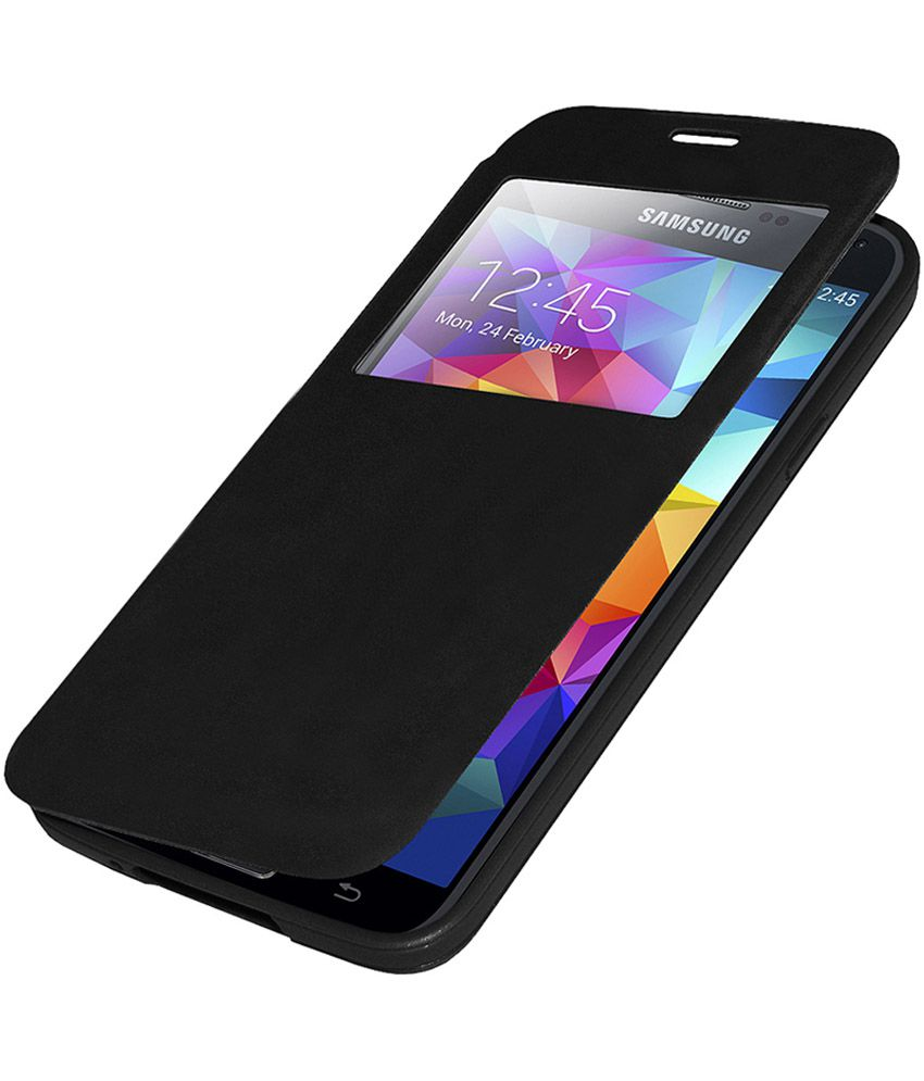 the latest f2887 405fd Edge S View Flip Case Cover for Samsung Galaxy S5 - Black