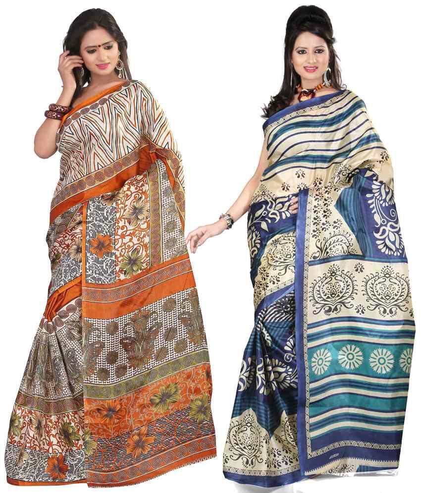 Kajal Stylish Blue And Orange Colour Art Silk Sarees Set Of 2