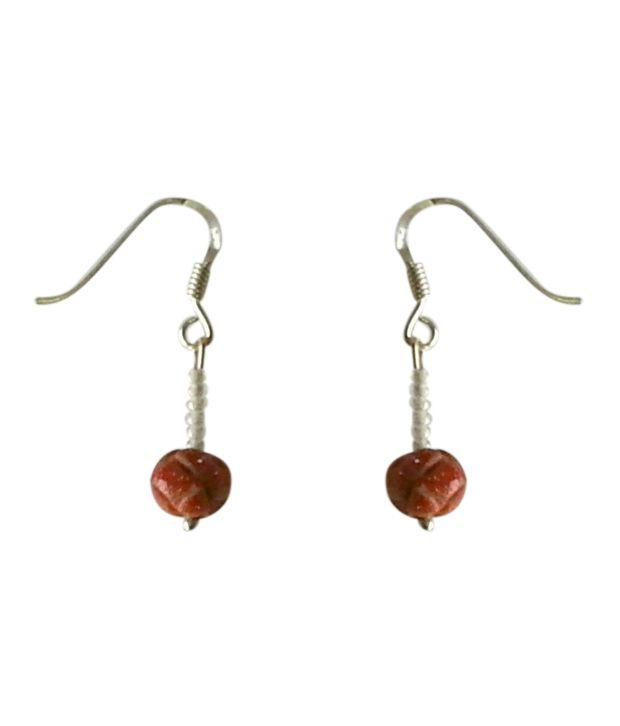 Niw'S Gemstones Carved Goldstone Pure 92.5 Sterling Silver Earrings