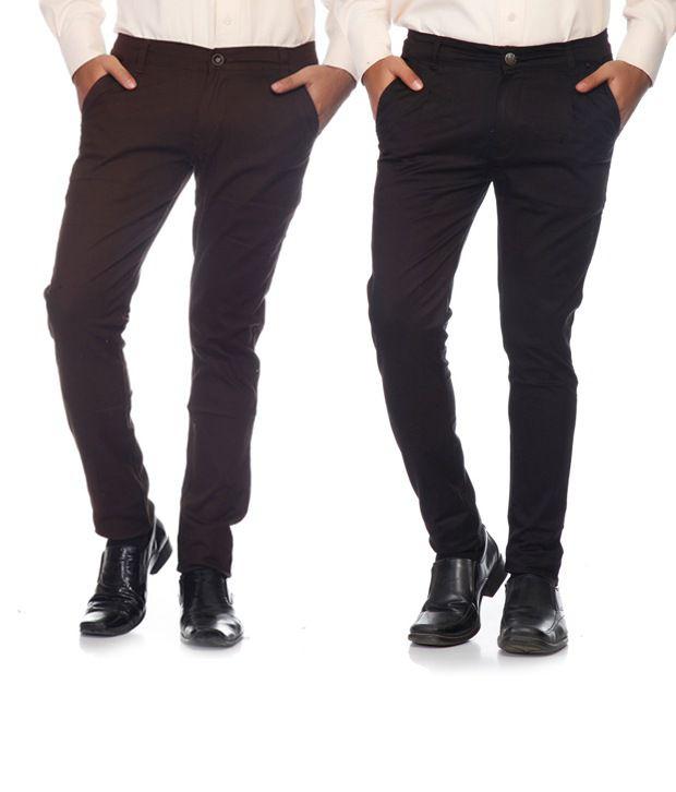 Pazel , SAM & JAZZ Brown & Black Cotton Lycra Combo of 2 Men's Chinos