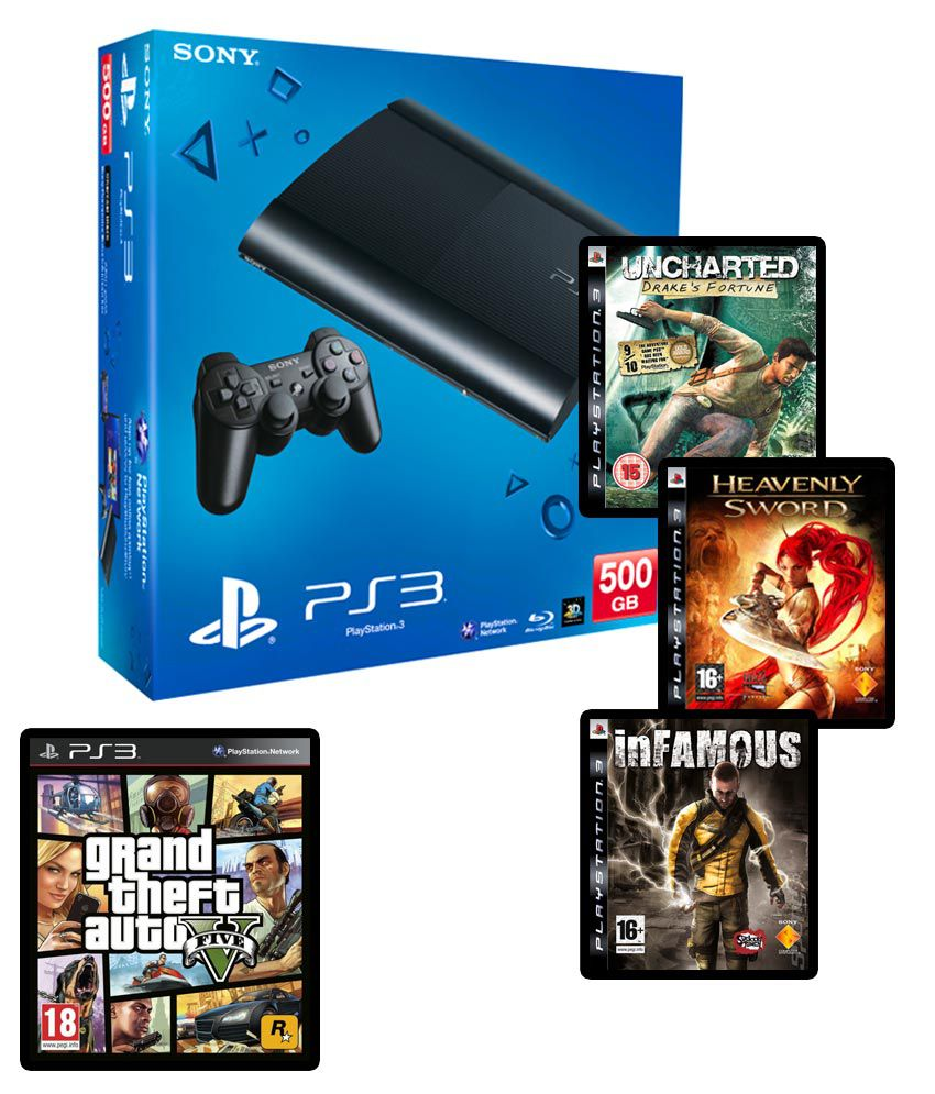 buy sony playstation 3 500gb with 3 games gta v. Black Bedroom Furniture Sets. Home Design Ideas