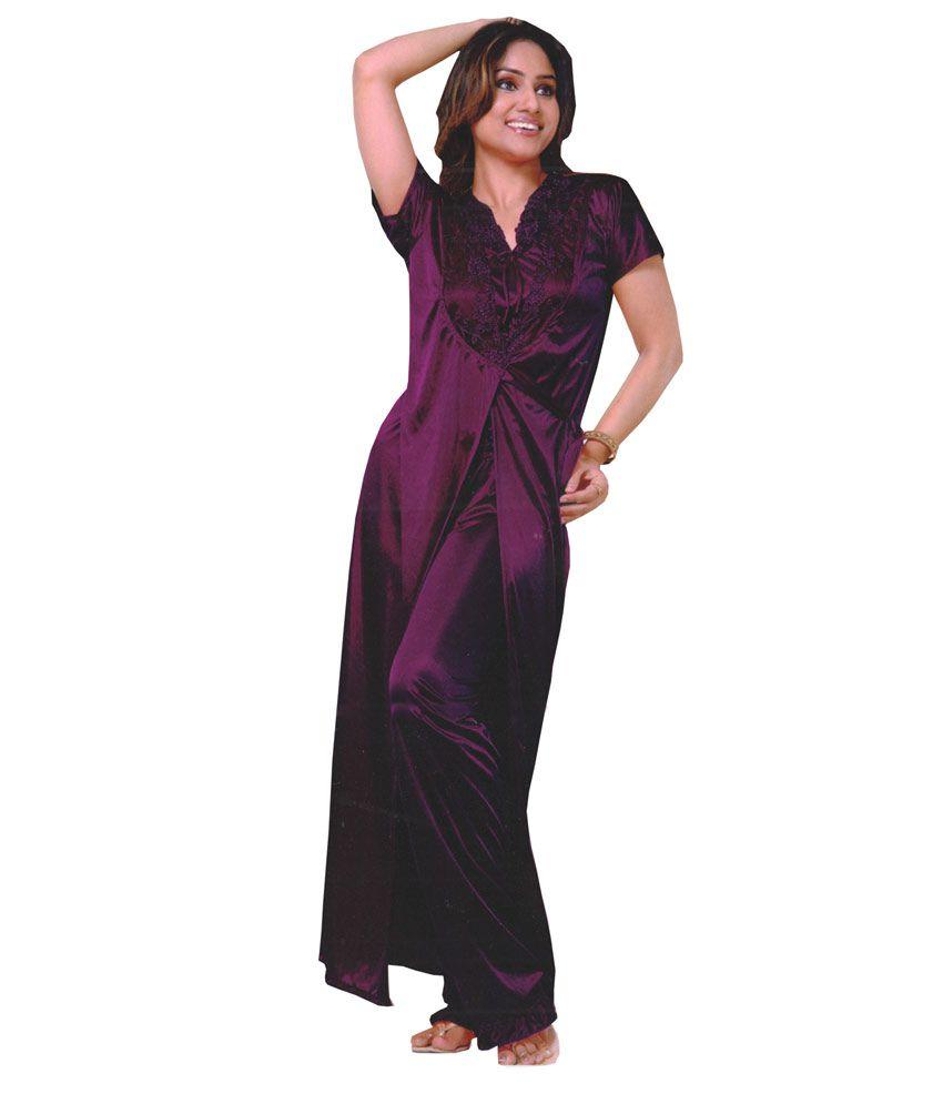 Buy Cenizas Purple Satin Nighty & Night Gowns Pack of 3