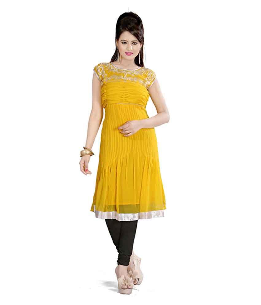 Fabdeal Yellow Colored Georgette Plain Kurti