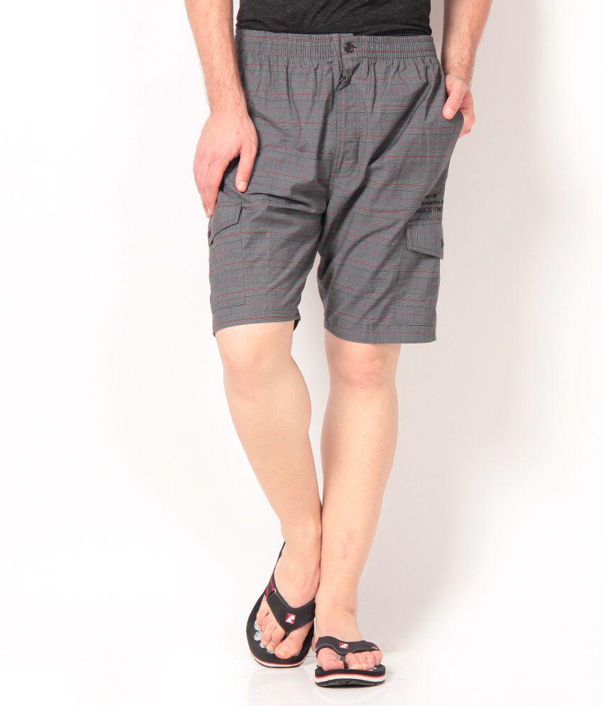 Okane Smart Dark Gray Checkered   Shorts