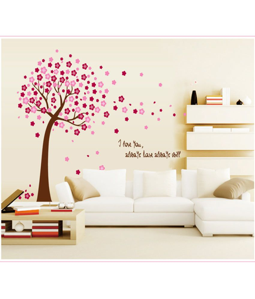 Wall stickers buy online -  Syga Printed Pvc Vinyl Pink Wall Stickers