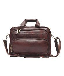 C Comfort Brown Leather 15 inch Laptop Messenger Bags