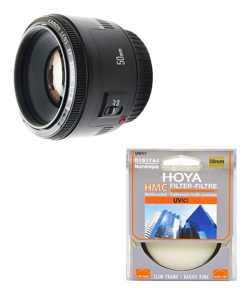 Canon 50mm EF f/1.8 II Lens + Hoya 58mm UV Lens Filter Combo