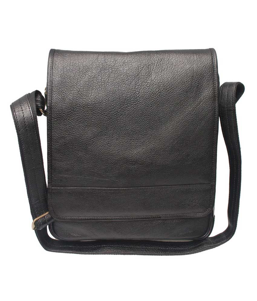 C Comfort Designer Black Leather 13 inch Laptop Messenger Bags