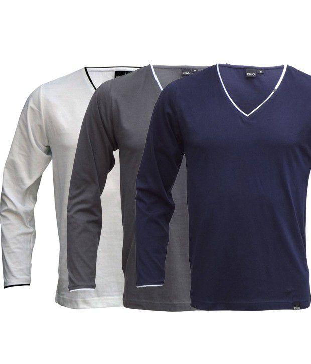 Rigo Smart Pack Of 3 White-Grey-Navy V Neck T Shirts