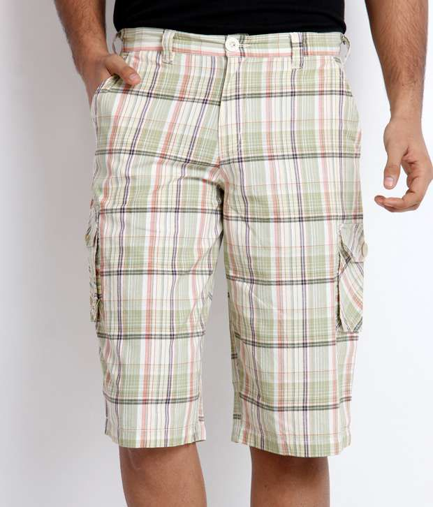 Skookie Light Green Checkered Shorts