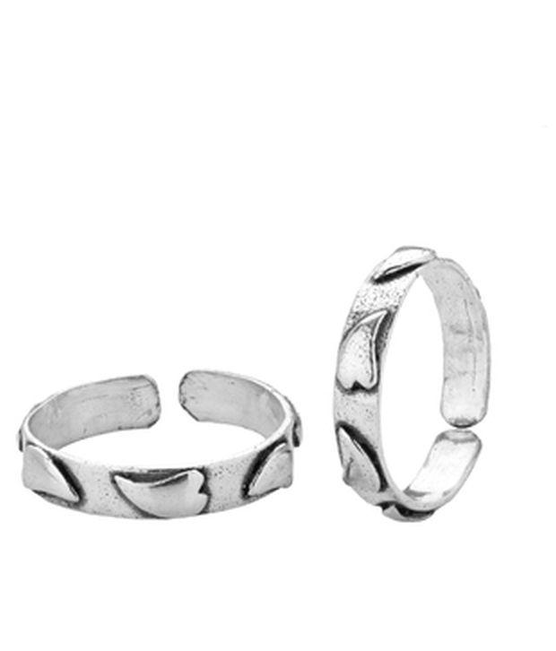 Voylla Groovy Hearts Oxidised Silver Alloy Toe Rings
