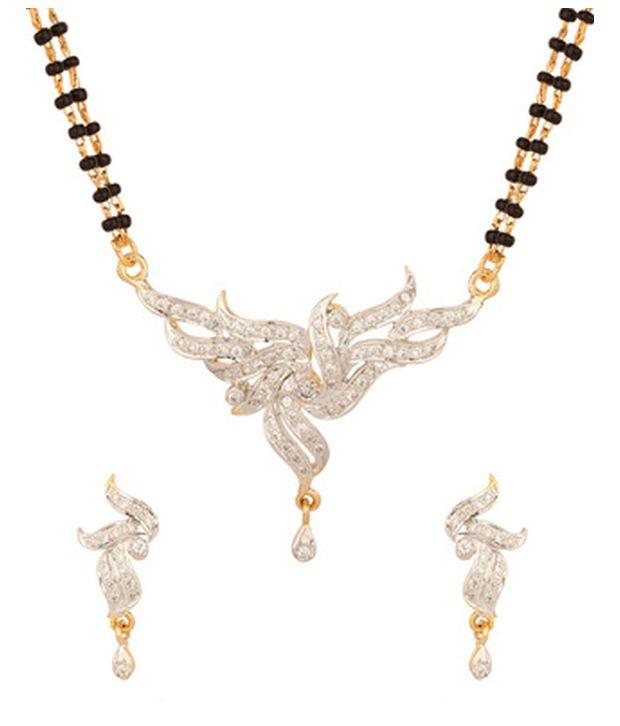 Voylla Double String Glamorous Cz Mangalsutra Set With Gold Plating