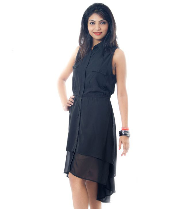 234e3d5a582 Luv Valentina Black Knee Length Georgette Dress - Buy Luv Valentina Black Knee  Length Georgette Dress Online at Best Prices in India on Snapdeal