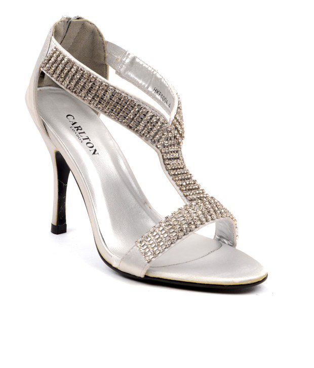 Carlton London Stylish Silver Stiletto Heels