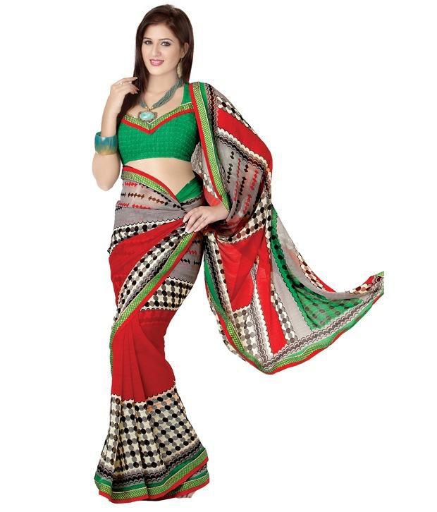Fabdeal Red & Green Beautiful Saree