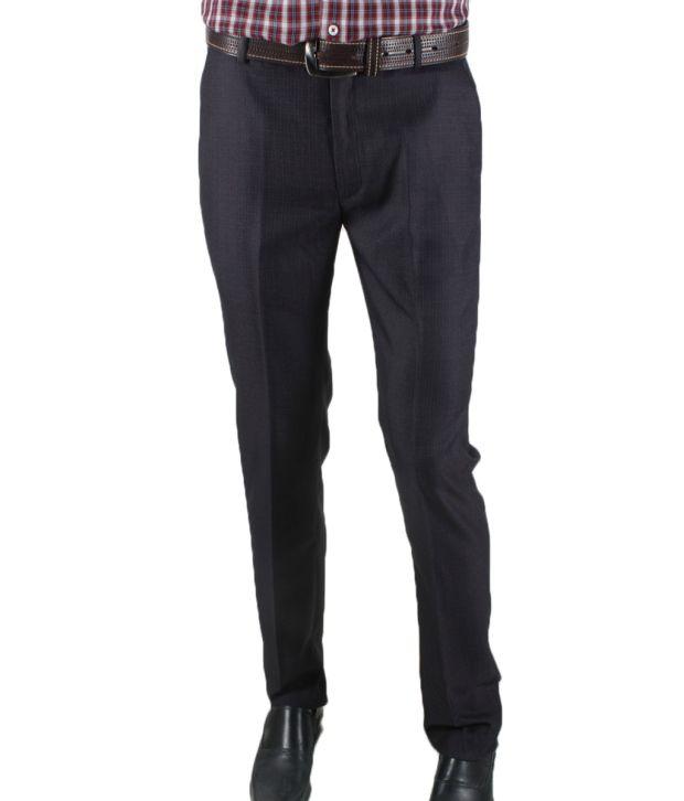 Knights Navy Blue Slim Fit Trousers By Ritu Wears