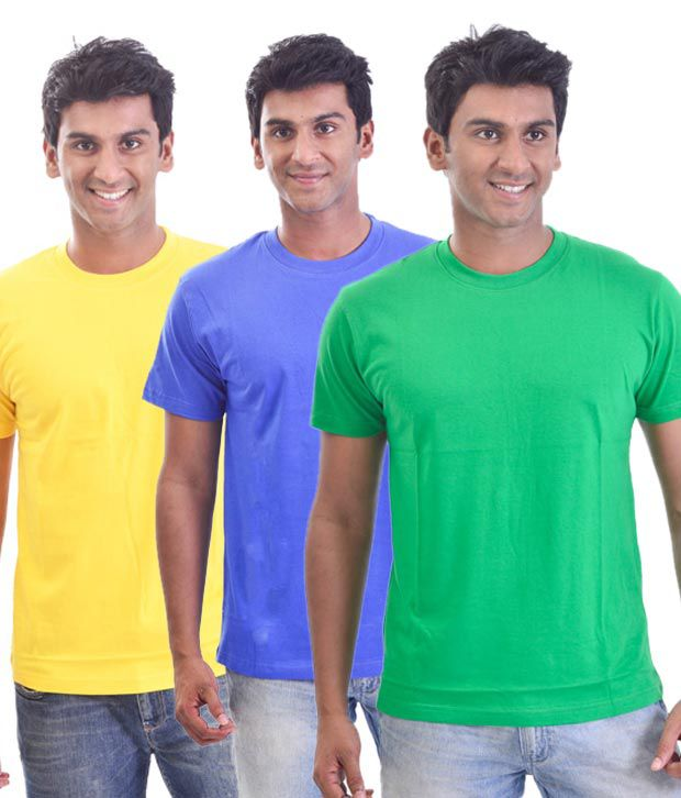 Stitche Classy Round Multi Neck  T-Shirts Pack Of 3