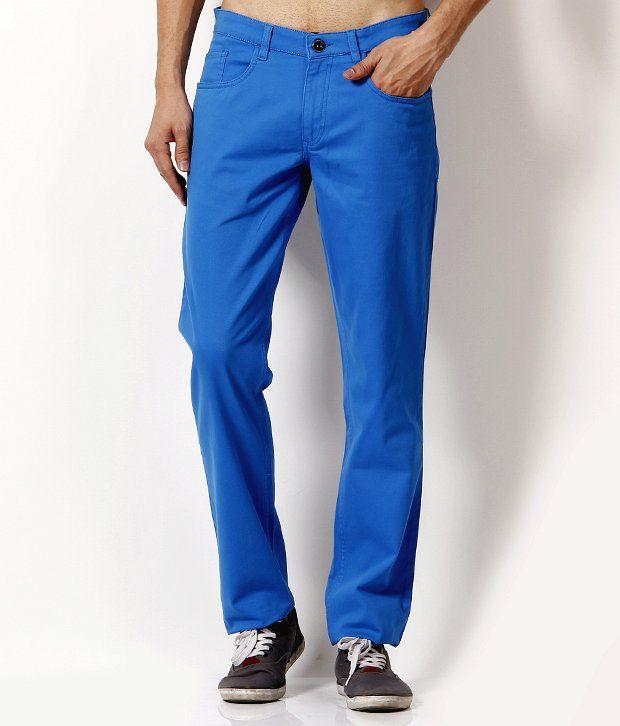 John Players Appealing Aqua Blue Trousers