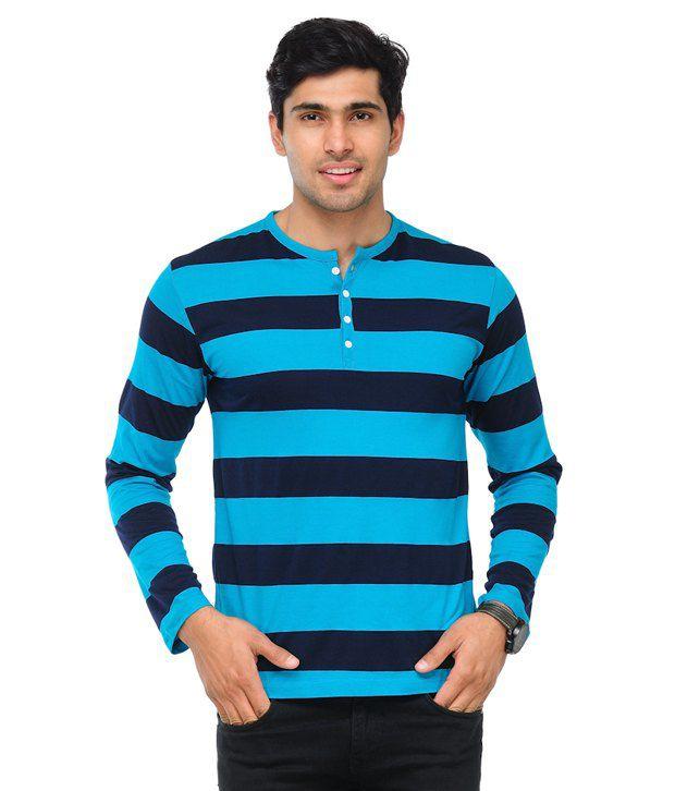 TSX Sky Blue Striped Henley Cotton Blend T Shirt