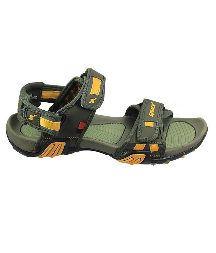 5f41a7ef750d85 ... Sparx Yellow   Green Floater Sandals For Men Art SS428OLVGRNYLW ...