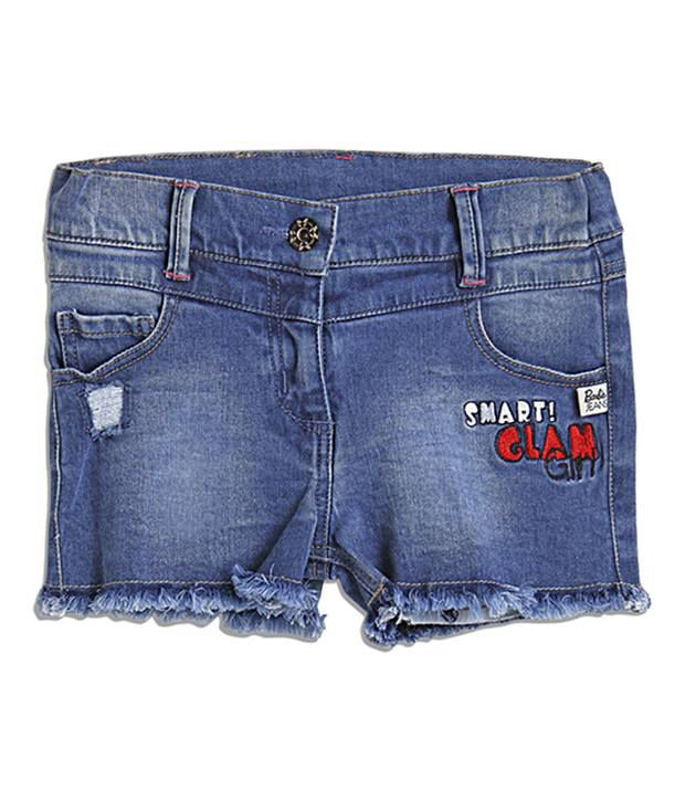 Barbie Embroidered Blue Color Shorts For Kids