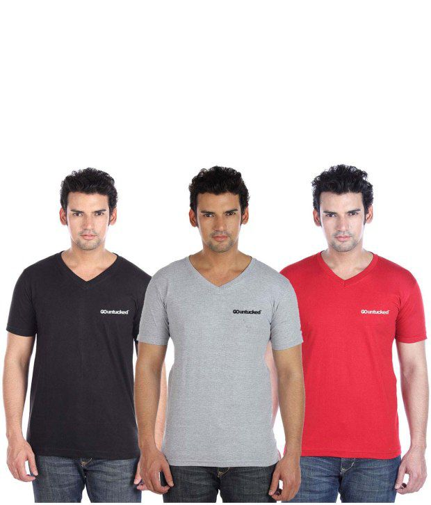 Go Untucked Cool Pack Of Black-Red-Grey Basic V-Neck T-shirt