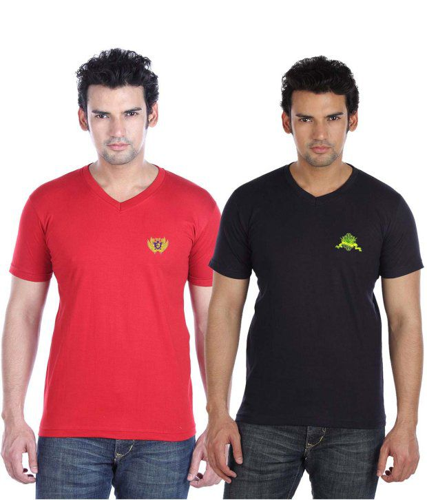 Go Untucked Pack Of Red-Navy V-Neck T Shirts