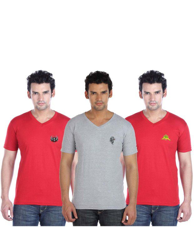 Go Untucked Stylish Pack Of Grey-Red V-Neck T Shirts