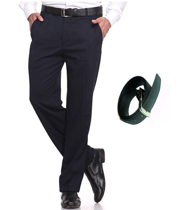 Praado Combo Of Navy Blue Trouser & Belt