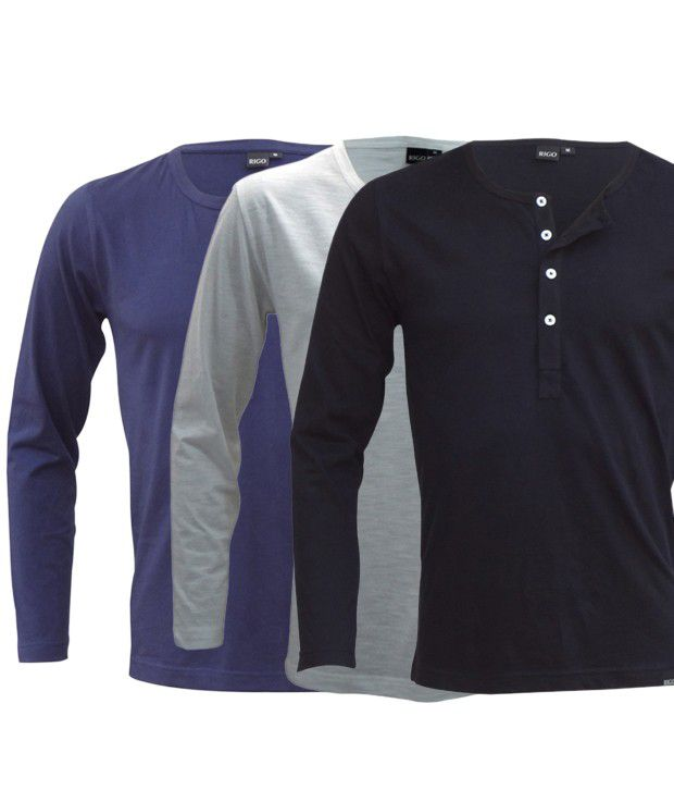 Rigo Cool Pack Of 3 Blue-Black-White Henley Neck T Shirts