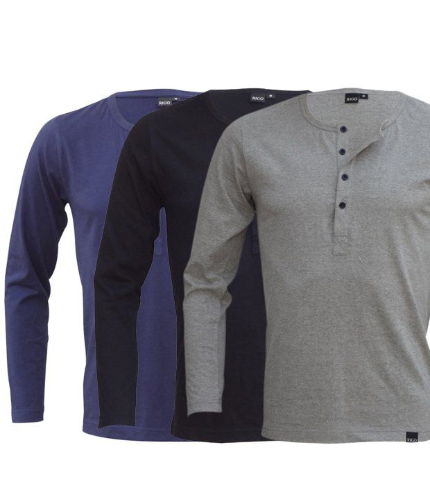Rigo Cool Pack Of 3 Blue-Black-Grey T Shirts