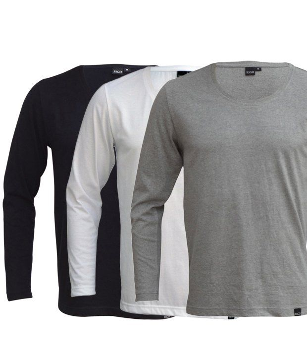 Rigo Exclusive Pack Of 3 Black-White-Grey T Shirts