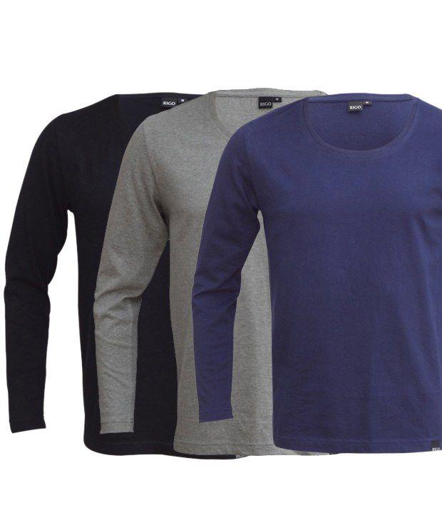 Rigo Exclusive Pack Of 3 Black-Grey-Blue T Shirts