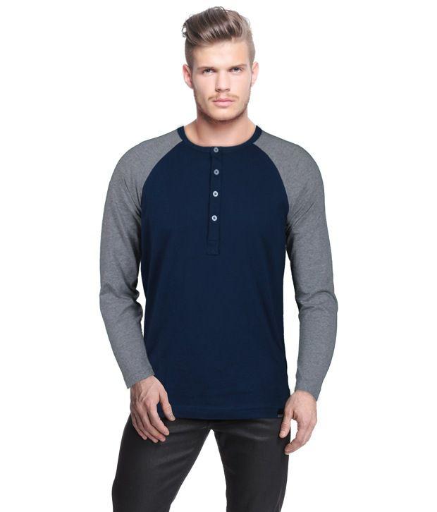 Rigo Navy Henley Neck T Shirt
