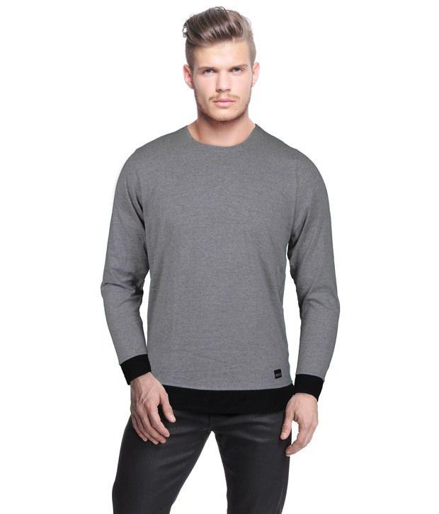 Rigo Stylish Grey Melange T-Shirt With Black Cuffs