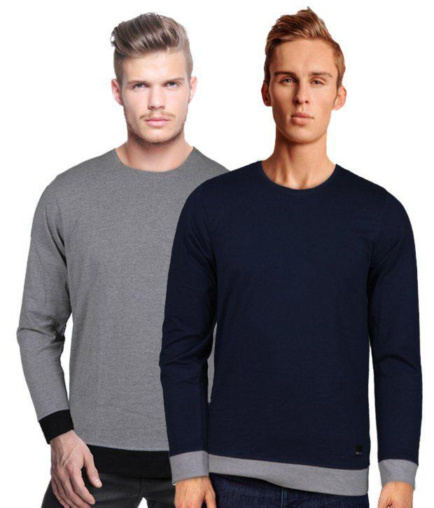 Rigo Stylish Pack Of 2 Grey-Navy T Shirts