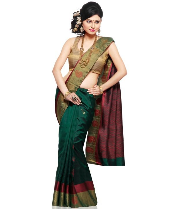 98cf50dab71e1 Utsav Fashion Dark Green and Brown Pure Kanchipuram Handloom Silk Saree  with Blouse - Buy Utsav Fashion Dark Green and Brown Pure Kanchipuram  Handloom Silk ...
