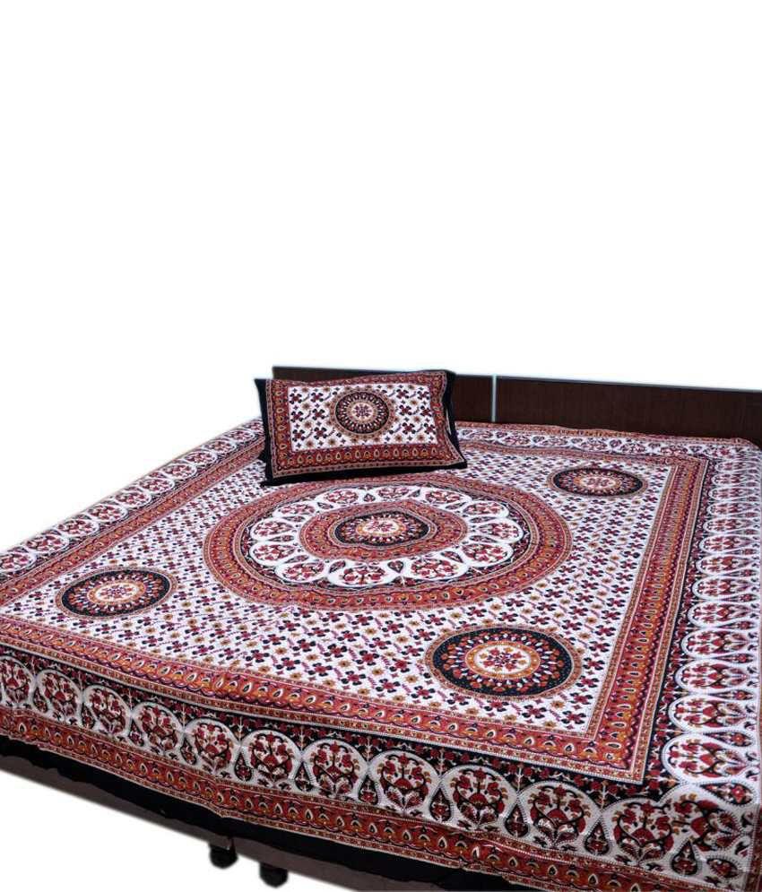 jaipur raga rajasthani batik print cotton double bed sheet  jaipur raga rajasthani batik print cotton double bed sheet 2 pillow covers