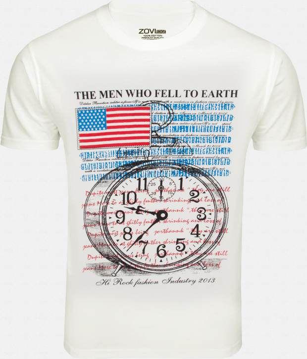 Zovi Stylish White Printed T Shirt For Men
